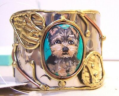 hand painted Yorkie on turquoise stone hammered silver brass copper   bracelet