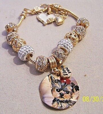 hand painted Yorkie gold tone crystal charm bracelet dog gift lots of bling