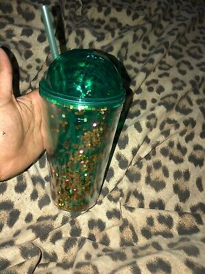 Turquoise Glitter plastic drinking cup with straw