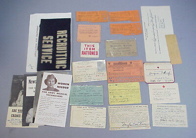 WWII WAC Grouping US Army Recruiter Arm Band Edgewood Arsensal ID Ration Cards
