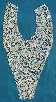 Antique Honiton lace dress front - roses