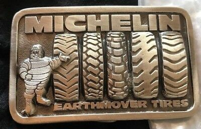 VINTAGE Michelin Man Earthmover Tires Belt Buckle Great American Buckle NewCond.