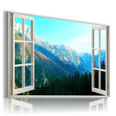 GOLDEN FOREST TREES MOUNTAINS Perfect View Canvas Wall Art Picture L566 X MATAGA