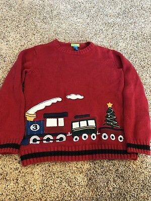 Green Dog Train Sweater Boys Size 7 Christmas Sweater. Red