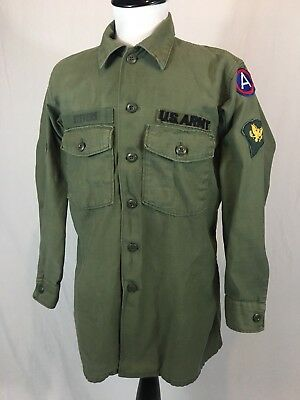 Vintage US Military OG-107 Sateen Fatigue Shirt Large Army Patches Green Vietnam