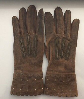 """Vintage Antique Children's Leather Gloves Brown 6.75"""" with Snaps"""