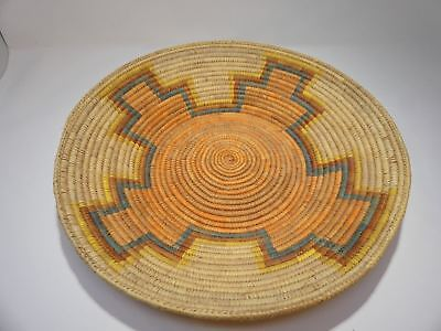 """Vintage Hand Woven Native Tribal African Coiled Basket Bowl 15"""" Large"""
