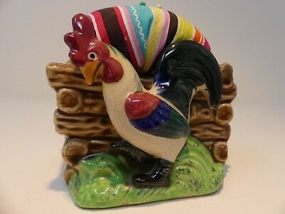 Vintage Repurposed Chicken Rooster Pincushion Planter Bright Colored
