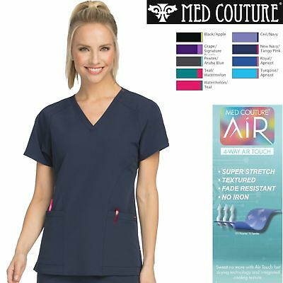New Med Couture Scrub Work AIR Women's Sky High Tops V-Neck Pocket #8537