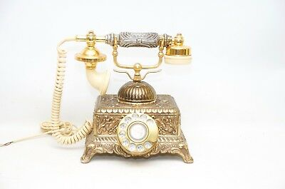 Vintage French Victorian Style Gold Brass Finish Rotary Dial Telephone Imperial