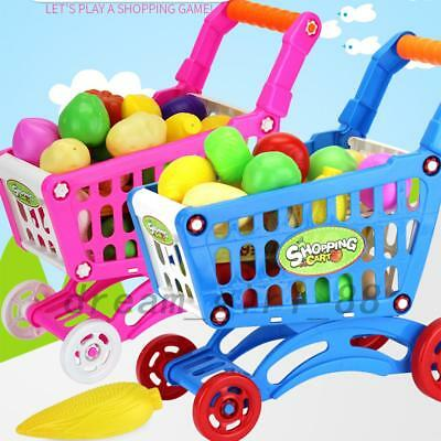 Kids Children Shopping Trolley Cart Role Play Set Toy Plastic Fruit Food Gift AU