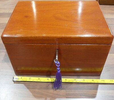 Antique Lined Victorian Mahogany work box with lock and key