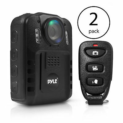 Pyle Compact Portable 1080p HD Infrared Night Vision Police Body Camera (2 Pack)