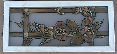 "Antique Wood Window Faux Painted On Look Like Stained Glass Brown Roses 26"" x 12"