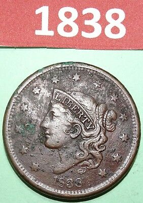 1838 Coronet Head Large Cent US COPPER COIN VERY FINE CONDITION HAS OXIDATION