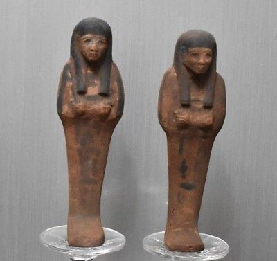 ANCIENT EGYPT ANTIQUE  EGYPTIAN a pair of faience ushapti 300-1500 BC