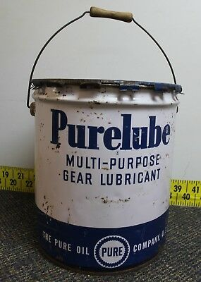 Vintage Pure Purelube 5 Gallon Oil Gas Can with Lid, Wood Handle - Empty
