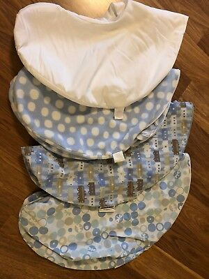 Set of 4 Bobby Pillow Covers - EUC (waterproof, dragonfly, blue dots, trains)