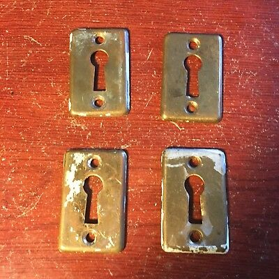 Beautiful Antique Yale  Kit Of 4 VICTORIAN Stamped BRASS KEYHOLE COVER