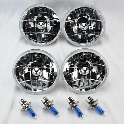"FOUR 5.75"" 5 3/4 Round H4 Clear Glass Headlight Conversion w/ Bulbs Set Chevy"