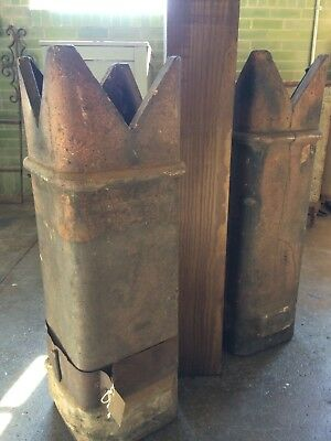 Pair Of 2 Antique Matching Chimney Pots Architectural Salvage Garden Landscaping