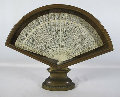 Chinese Trade Federalist American Market Export Bone Carved Shield Fan Brise yqz