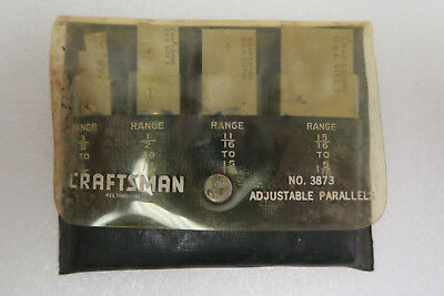 Early 60's Craftsman 4 Piece Adjustable Parallel Set 3873 w/Pouch