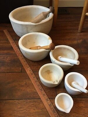 Antique Very Large Mortar & Pestle Bowl - Ceramic clay Set Drug Store Pharmacy