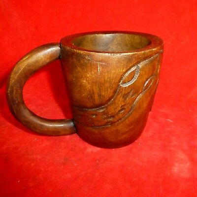 """Rare Antique Native American Iroquois Indian 4 1/4"""" Carved Snake Drinking Cup"""