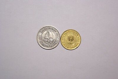 2 DIFFERENT COINS from BAHRAIN - 5 & 50 FILS (BOTH DATING 1992)..50 FILS w/ SHIP