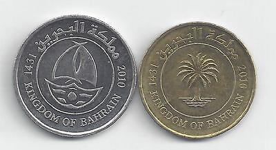 2 DIFFERENT COINS from BAHRAIN - 10 & 50 FILS (BOTH 2010)...50 FILS w/ SHIP
