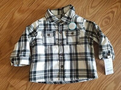 Baby Boy Carter's 9 Months Long Sleeve Black & White Plaid Button Down Shirt