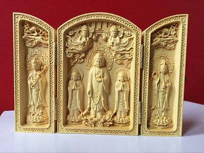 Old Oriental Vintage Boxwood Handwork Carved Buddha Statue Collection