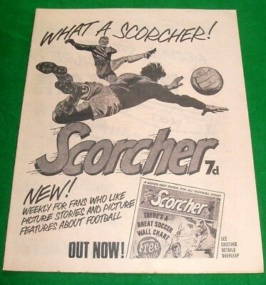 Scorcher Comic #1  4 Page Pink Pullout Insert  Stunning  Advert  From 1970  Rare