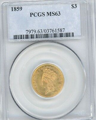 1859 $3 Dollar Gold Piece, Graded Ms63 By Pcgs, Great Coin