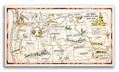The Trail of Lewis and Clark 1804-1806 Exploration 1940s Map - 24x42