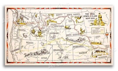1806-1804 Trail of Lewis and Clark Illustrated Expedition Map  - 14x24