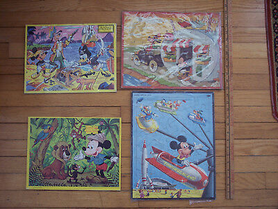 Vintage 1957 Set of 4 Disney Mickey Mouse Large Frame Tray Puzzles Tomorrowland