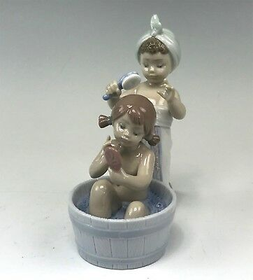 Adorable Lladro Figurine, #6457, Bathing Beauties, Two Little Girls, One in Tub