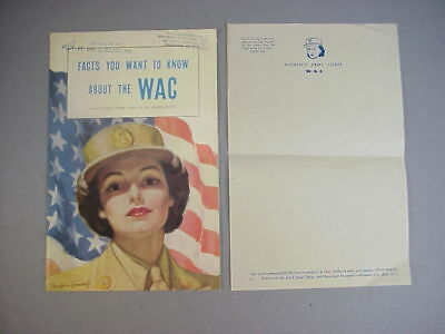 """WWII US Army """"Facts You Want To Know About The WAC""""  Brochure Women's Army Corps"""