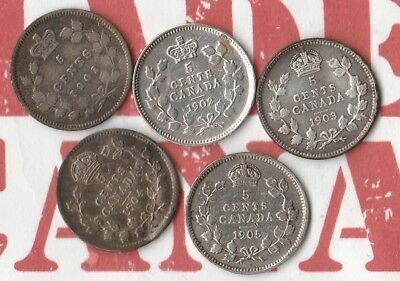 1901- 1905 Canadian Nickels (5c)- 92.5% Silver- Queen Vicki and King Eddy- NICE!