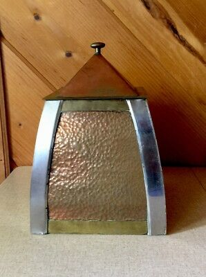 Vintage Mission Era Hammered Copper & Brass w Silver Metal Tobacco Humidor