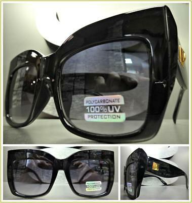 OVERSIZED EXAGGERATED VINTAGE RETRO CAT EYE Style SUN GLASSES Thick Black Frame