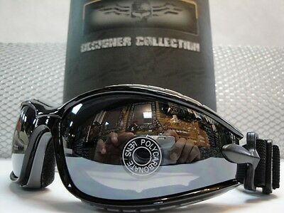 PADDED MOTORCYCLE RIDING GLASSES GOGGLES With Strap Black & Gray Frame Dark Lens