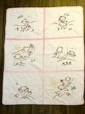 Hand Made Vintage Baby Blanket CRIB QUILT MOTHER GOOSE Jack And Jill Bears Cute