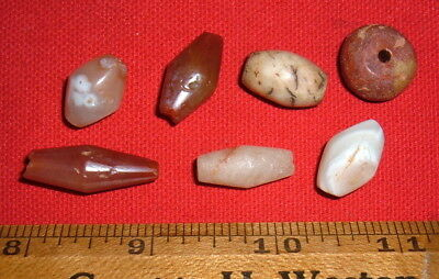 (7) Big Sahara Neolithic Colorful Stone Beads, Prehistoric African Artifacts