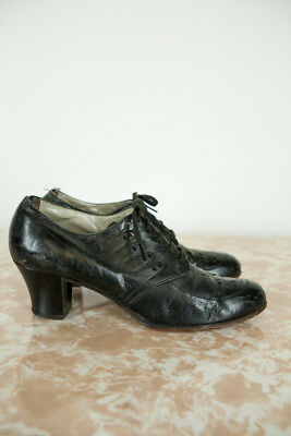 Vintage 1930s 20s SELLY ARCH Black Leather Lace Up Heels Shoes Pumps Brogues Dec
