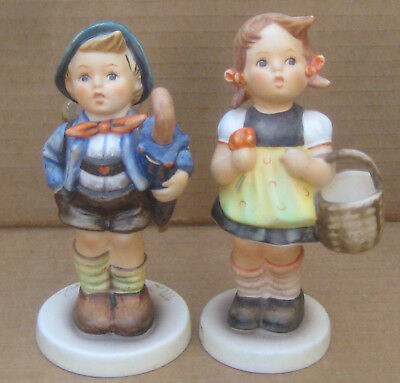 2 Goebel Hummel Figurines Home From Market Boy w/Piglet & Sister Girl w/Basket