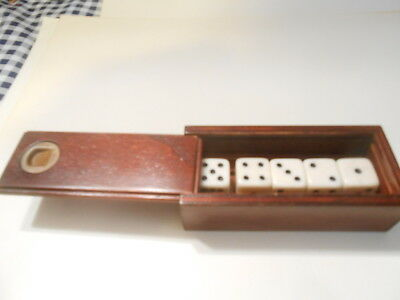 Professional Gamblers Ivory Dice Witha Mahoganey Case