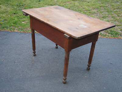 Antique Southern Primitine Dough Table with Fitted Scrub Top and Red Wash.